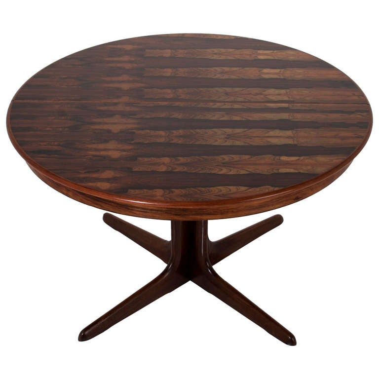 Round, Danish Rosewood Dining Table By Koefoeds Hornslet With Leaves 1
