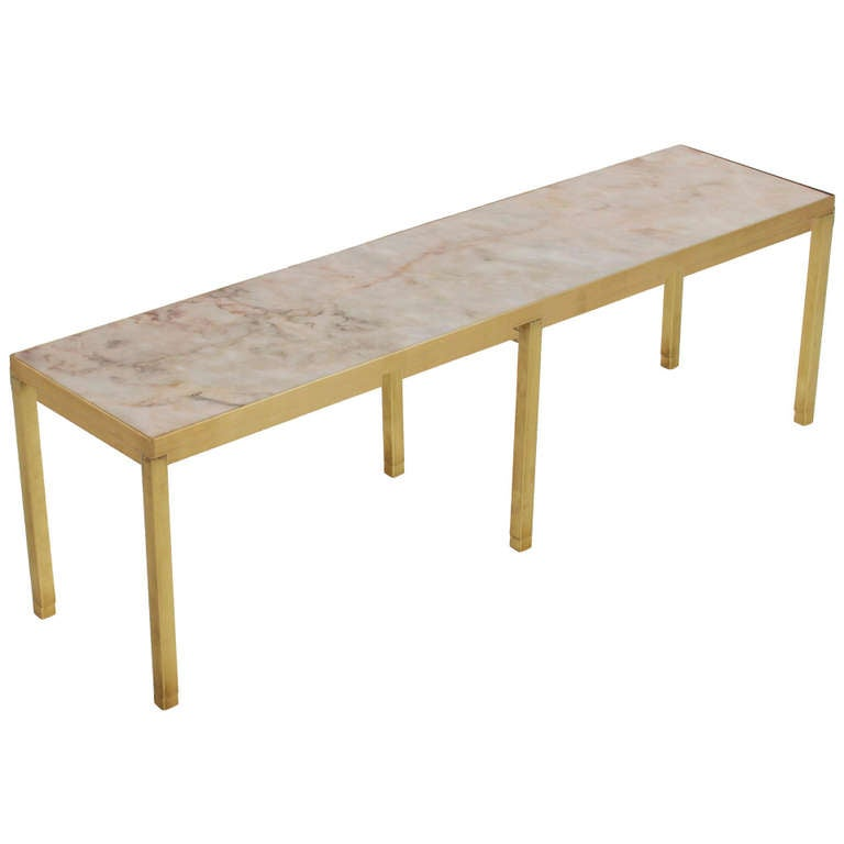 Narrow rectangular brass and marble coffee table by edward for Narrow coffee table