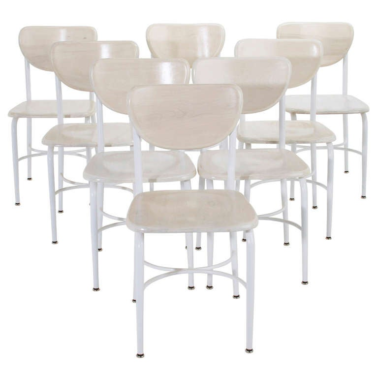set of 8 maple and iron classroom style dining chairs at 1stdibs