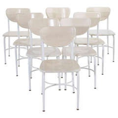 Set of 8 Maple & Iron Classroom Style Dining Chairs