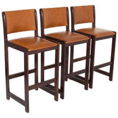 Set of Three Vintage Oak California Design Bar Stools
