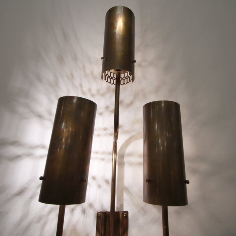 Large Bronze Wall Sconces : Large single bronze wall sconce at 1stdibs
