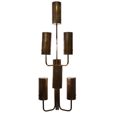 Large single bronze wall sconce
