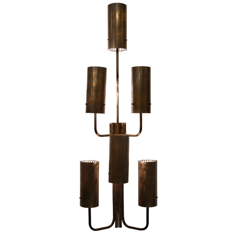 Large Bronze Wall Sconces : Large single bronze wall sconce