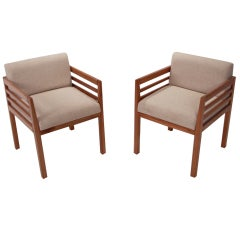Celina Prototype Cumaru Wood and Linen Side Chairs