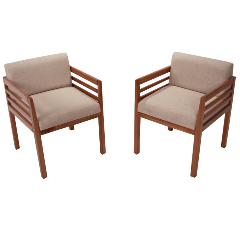 Organic Modern Brazilian Cumaru Wood and Linen Side Chairs, by Celina