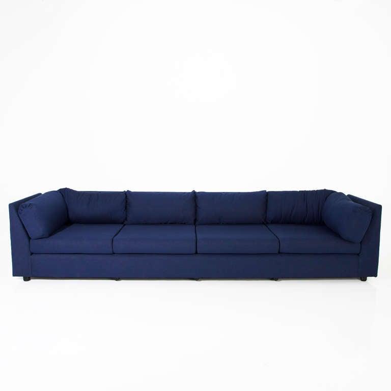 Vintage Italian Sofa Reupholstered in Blue Denim at