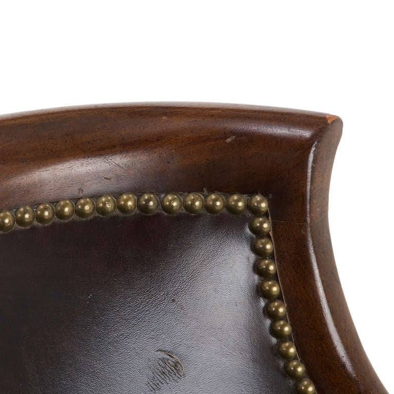 Mahogany leather and metal studded arm chair at 1stdibs for Leather studded couch