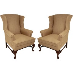 Vintage Regency Walnut Wingback Armchairs
