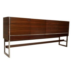 Massive Rosewood and Chrome Media Cabinet from Denmark