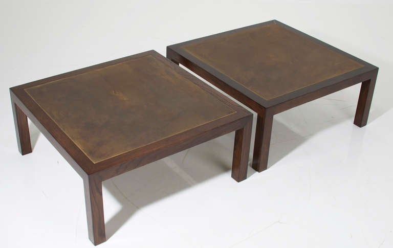 Square Tables By Harry Lunstead With Solid Oak Frames And Acid Etched Bronze Tops That
