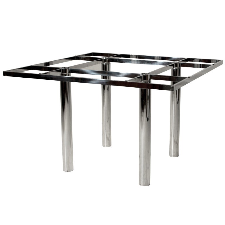 "Tobia Scarpa for Knoll ""Andre"" Chrome and Glass Top Dining Table"