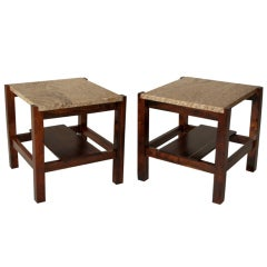 Organic Modern Brazilian Rosewood and Granite Side Tables