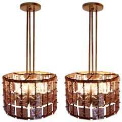 Pair of Beveled Rosé Colored Glass and Brass Chandeliers