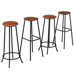 Midcentury Iron and Leather Stools with Straight and Splayed Legs