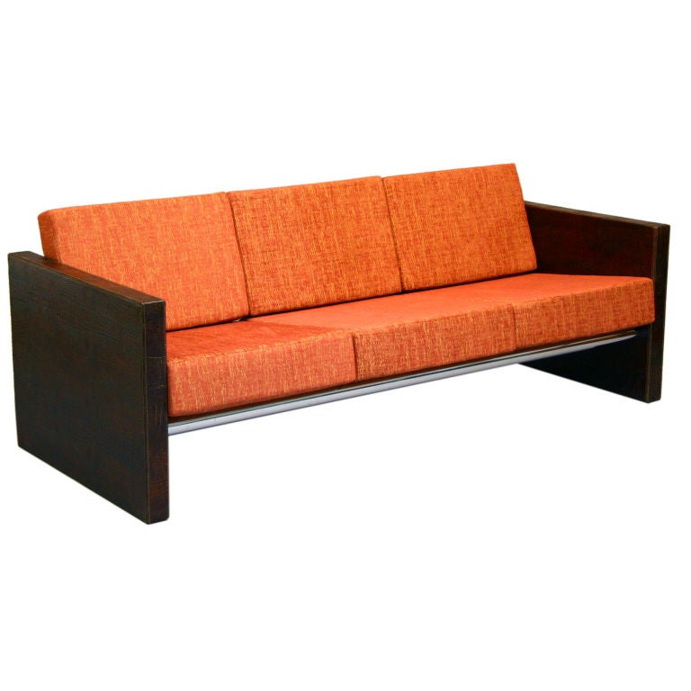 Embossed leather fabric and chrome sofa for sale at 1stdibs for Fabric sofas for sale