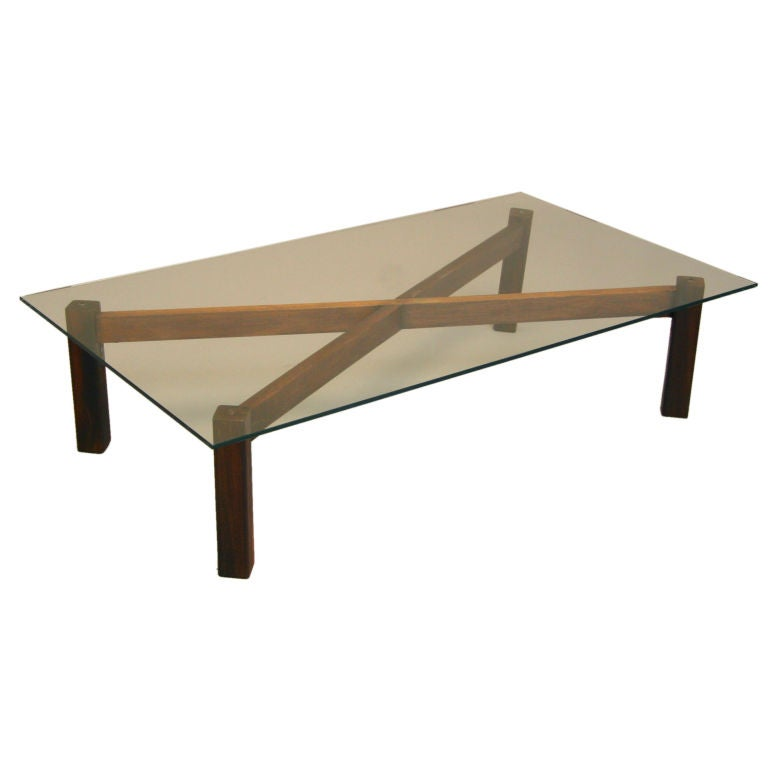 X Base Brazilian Rosewood And Glass Coffee Table At 1stdibs