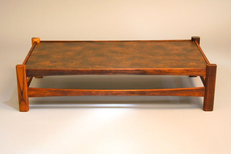 Rectangular brazilian rosewood and leather top coffee table at 1stdibs Square leather coffee table