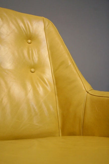 Mid-20th Century Pair of tan leather lounge chairs by Martin Eisler For Sale