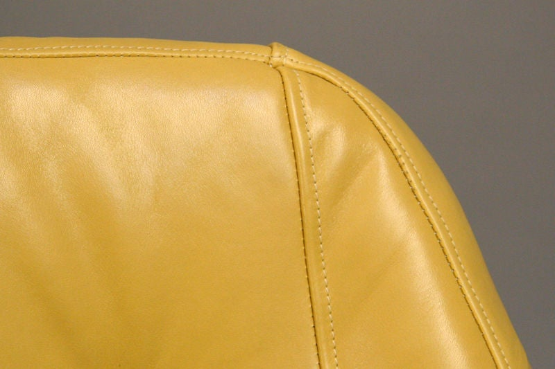 Pair of tan leather lounge chairs by Martin Eisler For Sale 1