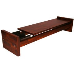 Rosewood Bench or Coffee Table with Magazine Holder by Jorge Zalszupin