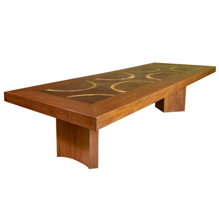 Live Edge Solid Slab Of Tamboril Coffee Table By Tunico T: Massive Custom Exotic Wood Dining Table By Jose Zanine