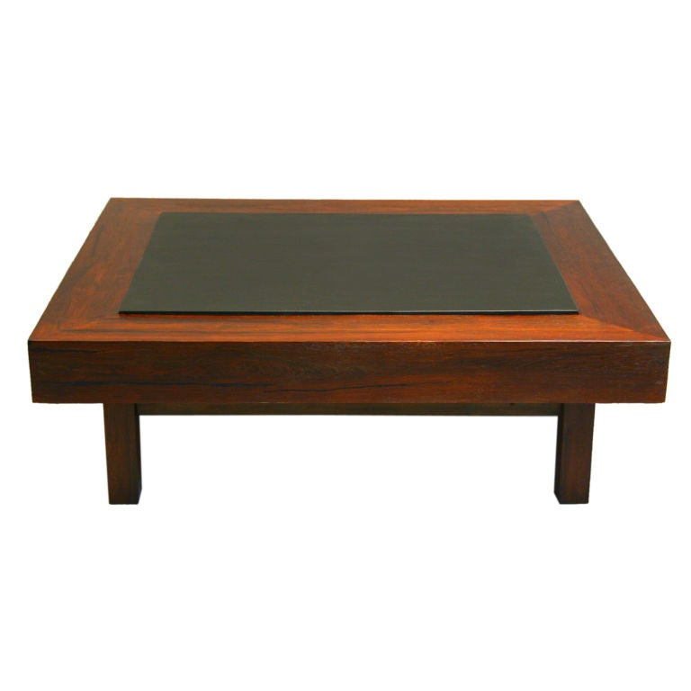 Black Leather Brazilian Coffee Table In Rosewood At 1stdibs