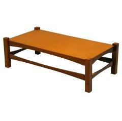 Organic Modern Brazilian Hardwood and Hand-Wrapped Leather Top Coffee Table