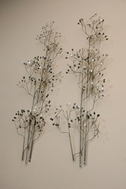 Pair Of Wall Hanging Chrome Leaf Sculptures By C Jere At