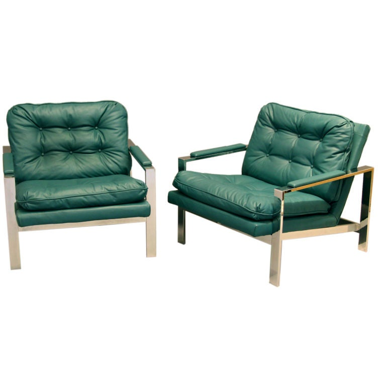 Pair of Teal Chrome Lounge Chairs by Milo Baughman at 1stdibs