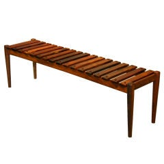 Tall Brazilian Rosewood Slat Bench or Coffee Table