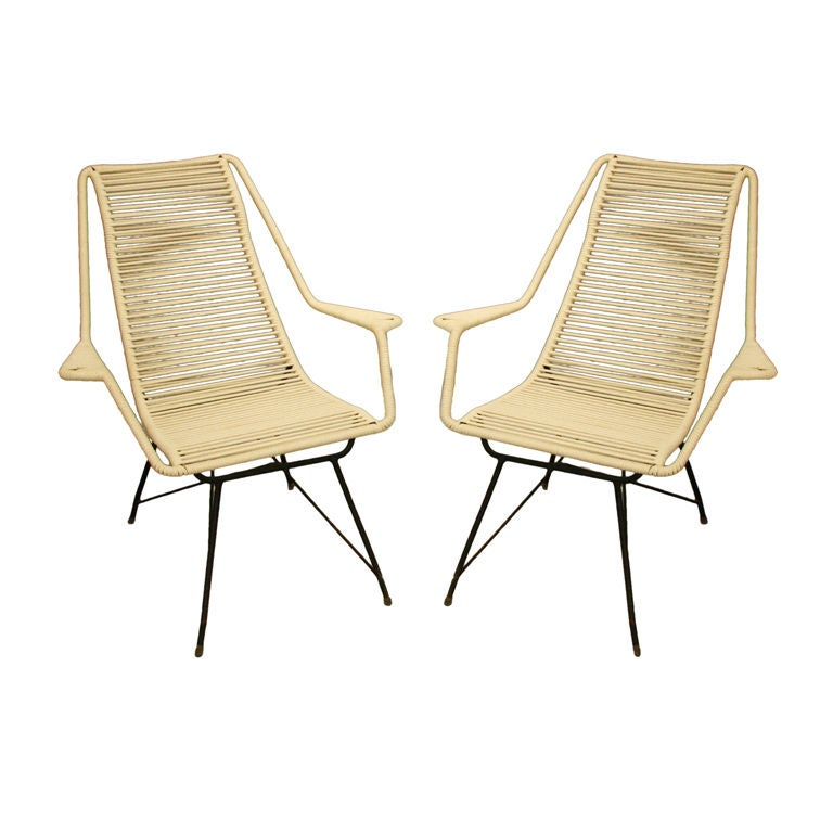 Pair of iron and cord lounge chairs by Martin Eisler at 1stdibs