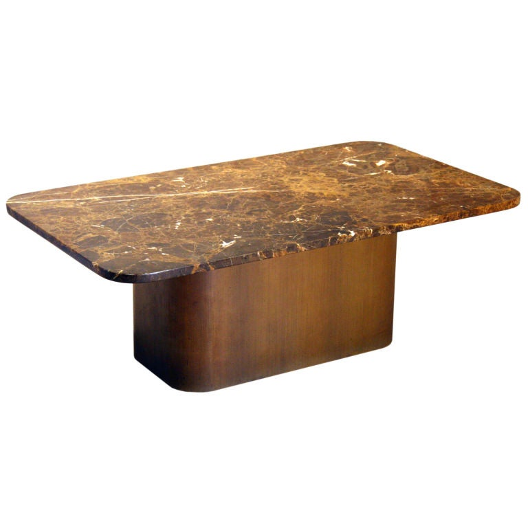 Rectangular Dark Brown Granite Top Coffee Table At 1stdibs