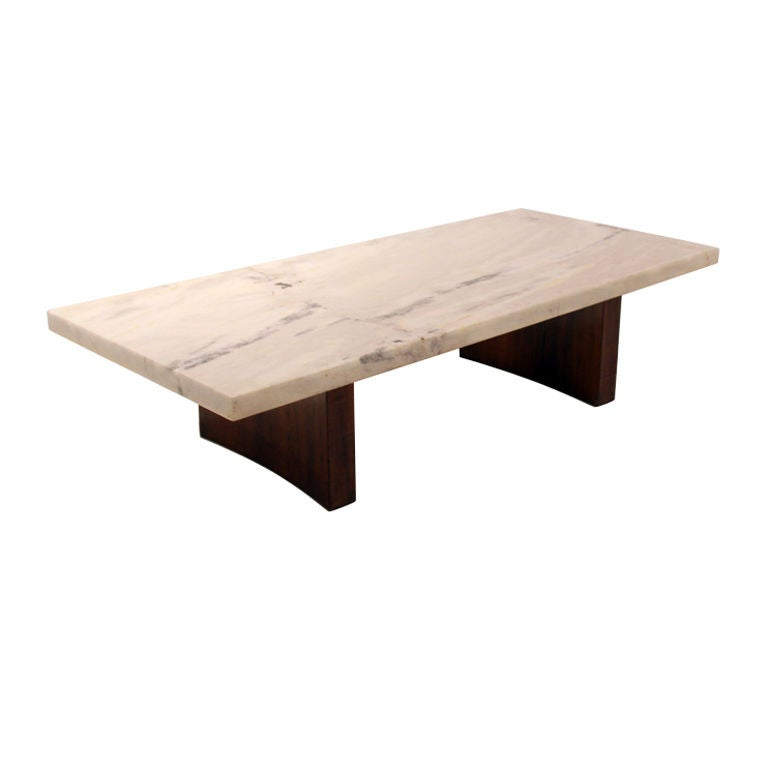 Rosewood and white marble coffee table by celina at 1stdibs White marble coffee table