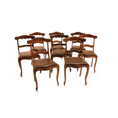 Set of Eight Solid Rosewood Sculptural Dining Chairs