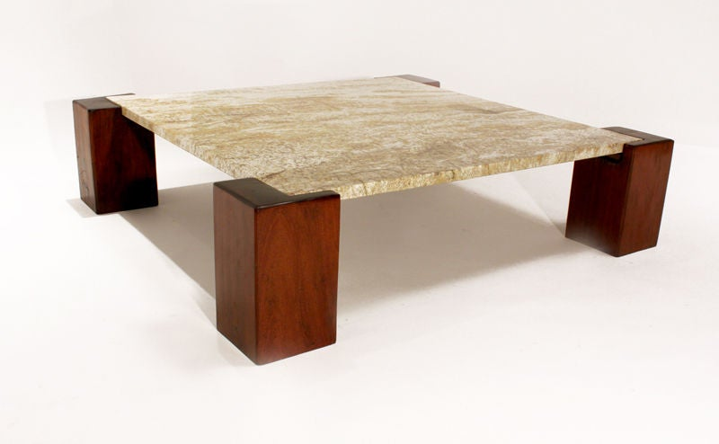 Solid Ipe and granite coffee table from Brazil 2