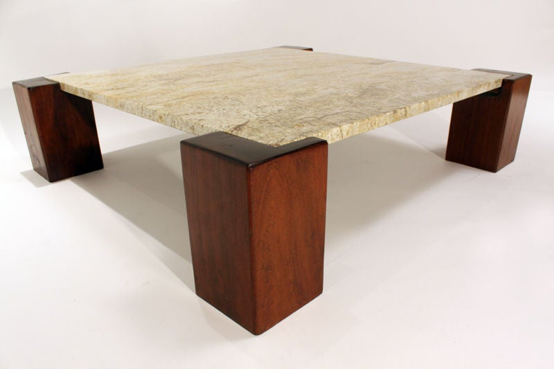 solid ipe and granite coffee table from brazil at 1stdibs. Black Bedroom Furniture Sets. Home Design Ideas