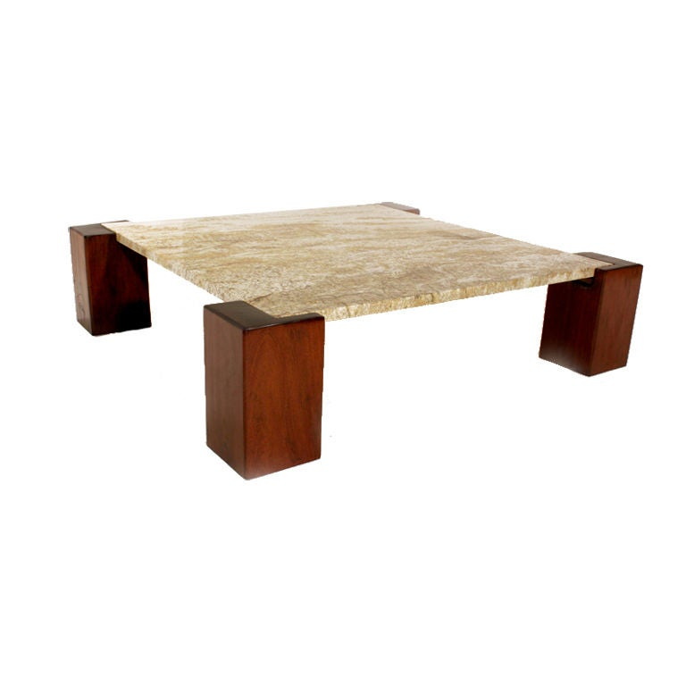 Solid Ipe And Granite Coffee Table From Brazil At 1stdibs
