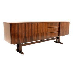 Long Brazilian Rosewood cabinet with inset drawers
