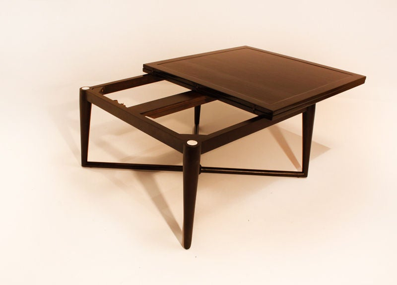 Extendable Coffee Table mid century x base and tapered legs mahogany coffee table with