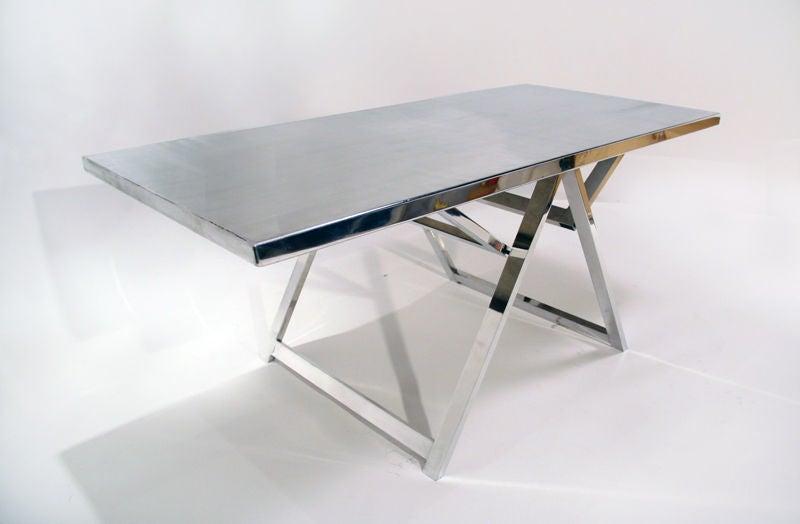 Vintage Folding Table : Vintage polished aluminum folding table at 1stdibs