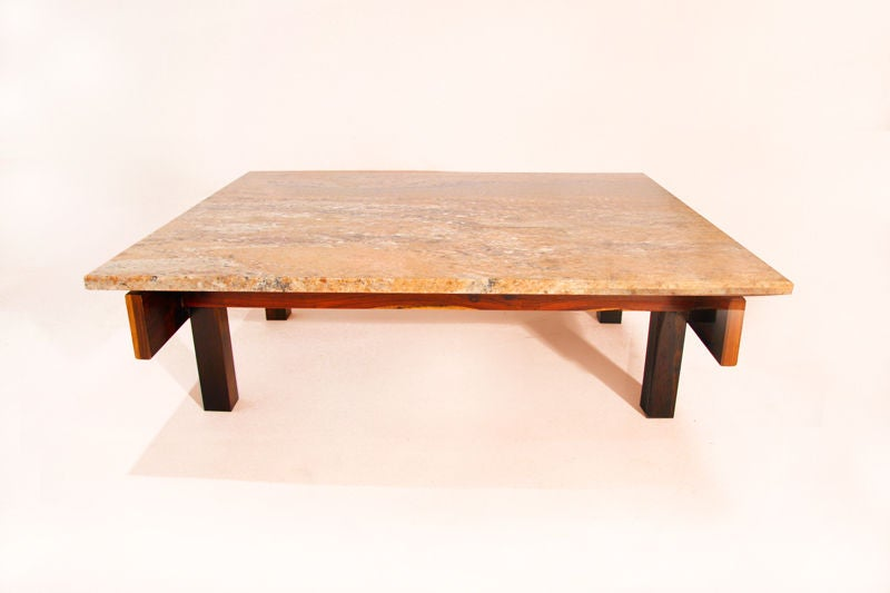 solid rosewood and granite coffee table from brazil at 1stdibs. Black Bedroom Furniture Sets. Home Design Ideas