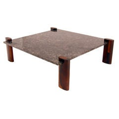Solid Brazilian Rosewood and Blue Granite Coffee Table by Celina