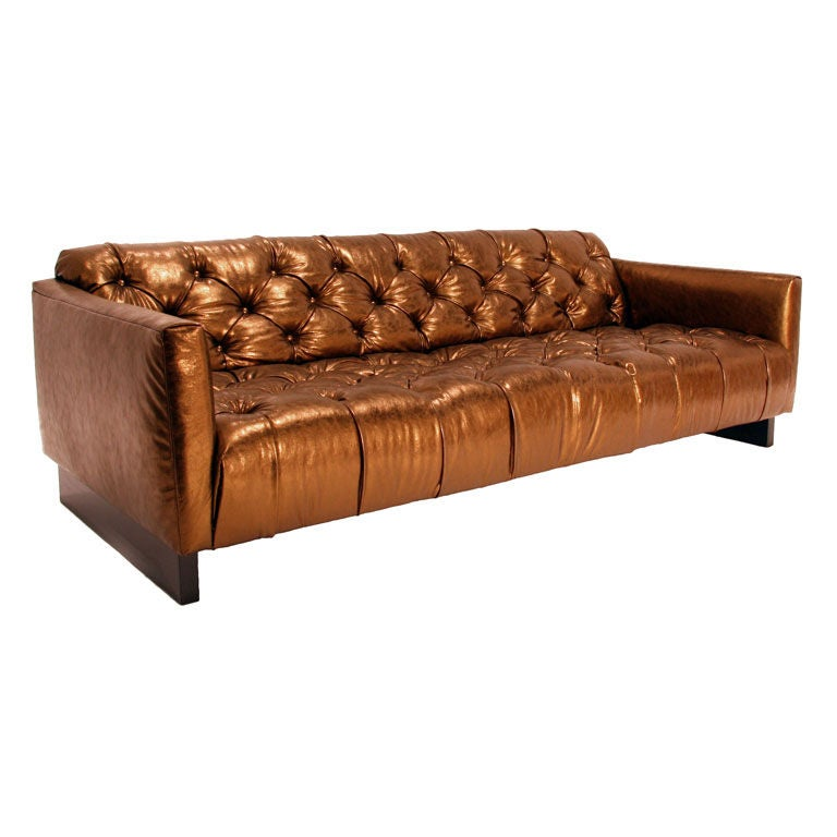 Incroyable Tufted Gold Leather Sofa For Sale