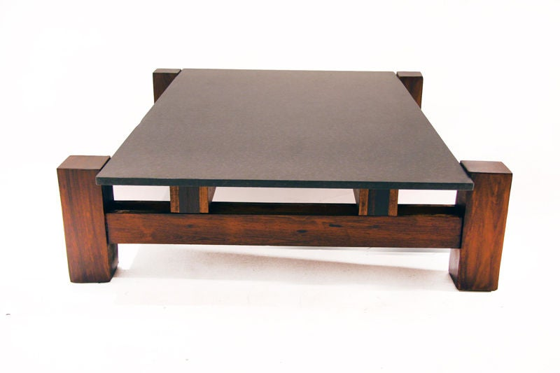 solid rosewood and matte black granite coffee table from brazil at 1stdibs. Black Bedroom Furniture Sets. Home Design Ideas