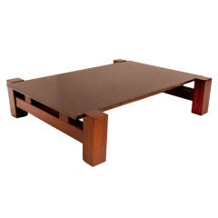 Solid Rosewood and matte black granite coffee table from Brazil