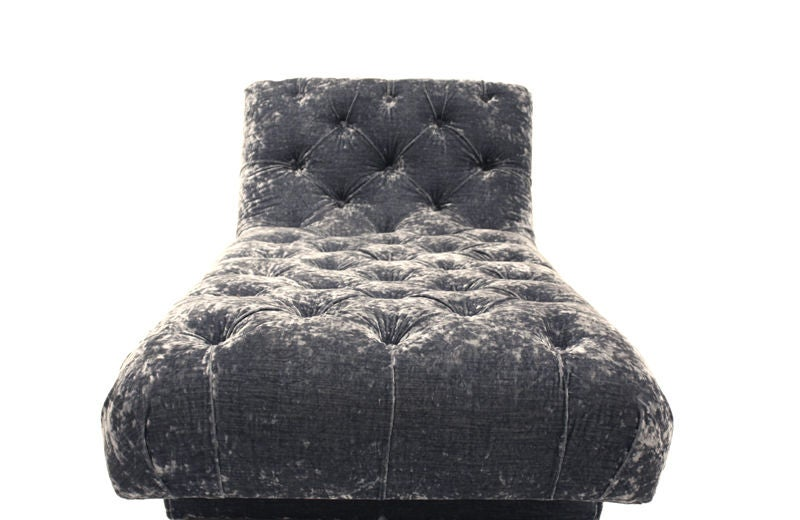 Vintage Blue Velvet Chaise Lounge At 1stdibs