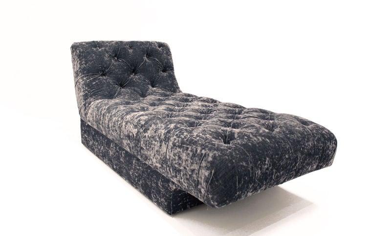 Vintage Blue Velvet Chaise Lounge Vladimir Kagan For Sale