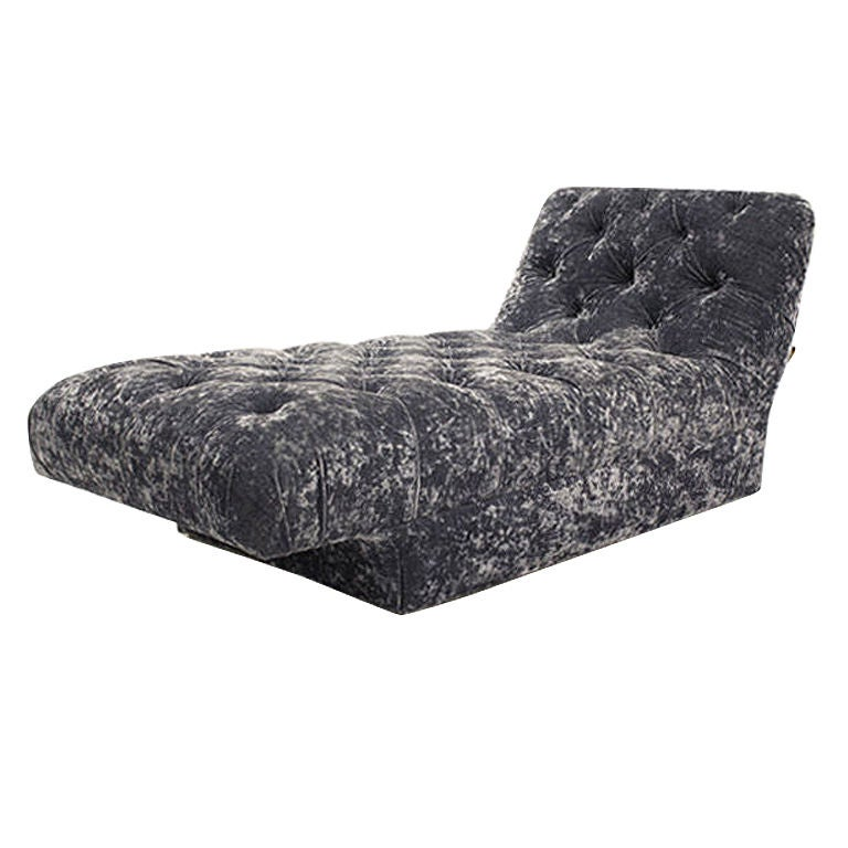 Vintage Blue Velvet Chaise Lounge Vladimir Kagan For Sale at 1stdibs
