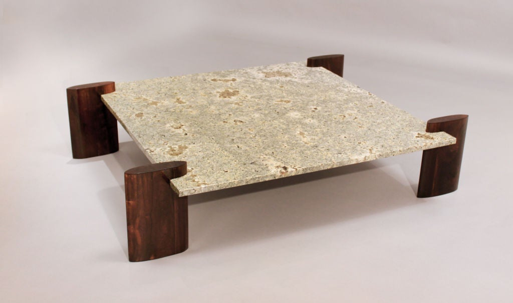 Rosewood and pale blue granite coffee table attributed to celina for sale at 1stdibs Granite coffee table